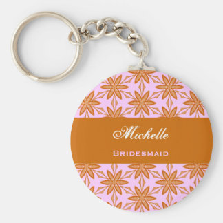 Bridesmaid Wedding Favor Gold Pink Flowers V043 Basic Round Button Key Ring