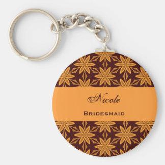 Bridesmaid Wedding Favor Gold Star Flowers V026 Basic Round Button Key Ring