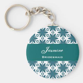 Bridesmaid Wedding Favor Green Star Flowers V025 Basic Round Button Key Ring
