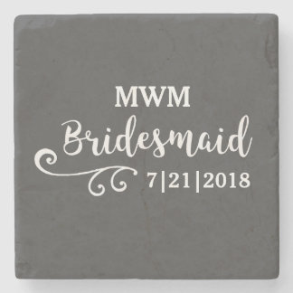Bridesmaid Wedding Favor Name or Monogram Script Stone Beverage Coaster