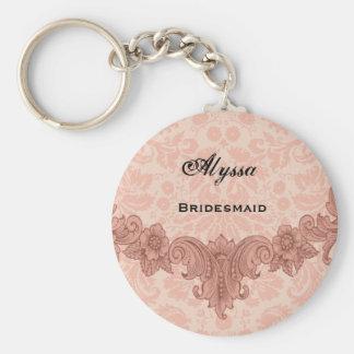 Bridesmaid Wedding Favor  Peach Vintage B029 Basic Round Button Key Ring