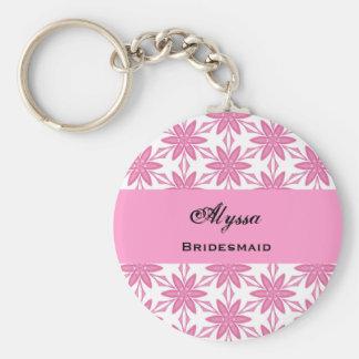 Bridesmaid Wedding Favor Pink Star Flowers V013 Keychain