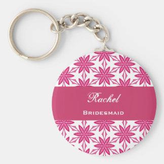 Bridesmaid Wedding Favor Pink Star Flowers V023 Basic Round Button Key Ring