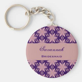 Bridesmaid Wedding Favor Purple Star Flowers V028 Basic Round Button Key Ring