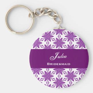 Bridesmaid Wedding Favor Purple Star Flowers V030 Basic Round Button Key Ring
