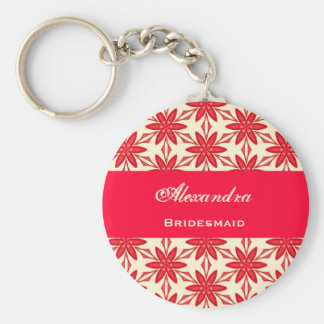 Bridesmaid Wedding Favor Red Star Flowers V027 Basic Round Button Key Ring