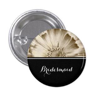 Bridesmaid Wedding Gold Daisy 3 Cm Round Badge