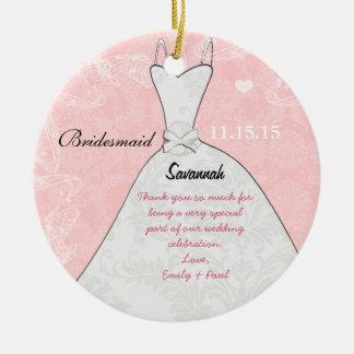 Bridesmaid Wedding Ornament Dress Pink Damask