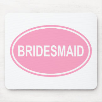 Bridesmaid Wedding Oval Pink Mouse Pad