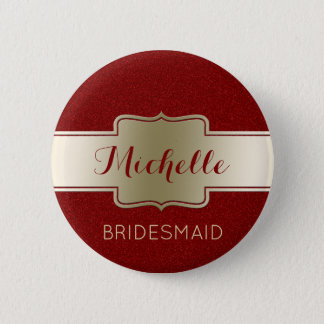 Bridesmaid Wedding Party Elegant Gold Red Glitter 6 Cm Round Badge