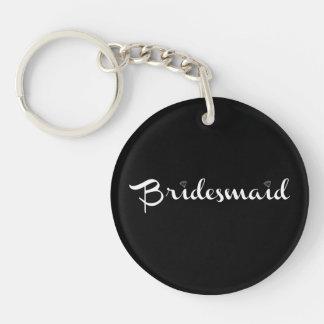 Bridesmaid White on Black Single-Sided Round Acrylic Key Ring
