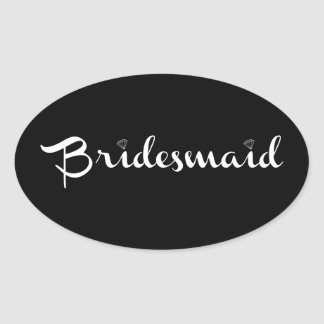Bridesmaid White on Black Oval Sticker