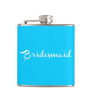 Bridesmaid White on Light Blue Flasks