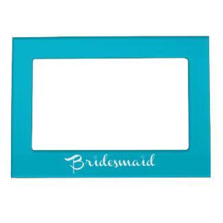 Bridesmaid White on Light Blue Photo Frame Magnet