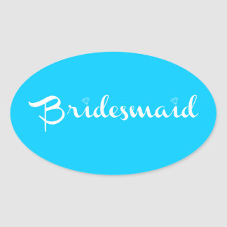 Bridesmaid White on Light Blue Sticker