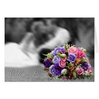 Bridesmaid, will you be my Bridesmaid black and wh Card