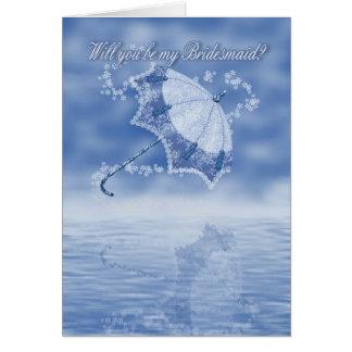 Bridesmaid, will you be my bridesmaid parasol blue greeting card