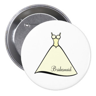 Bridesmaid Yellow Gown 7.5 Cm Round Badge