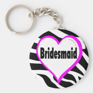 Bridesmaid Zebra Stripes Basic Round Button Key Ring
