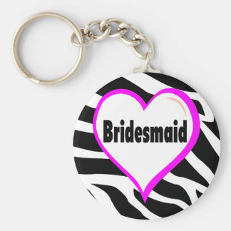 Bridesmaid (Zebra Stripes) Basic Round Button Key Ring