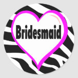 Bridesmaid Zebra Stripes Sticker