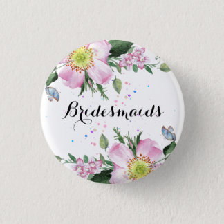 BridesMaids Colorful Flowers White Background 3 Cm Round Badge