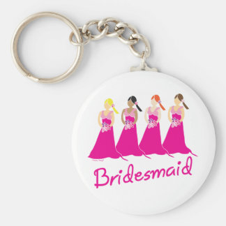 Bridesmaids Favors Pink Themed Basic Round Button Key Ring