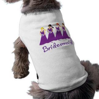 Bridesmaids in Purple Sleeveless Dog Shirt