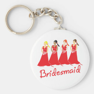 Bridesmaids in Red Wedding Attendant Key Chain