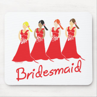 Bridesmaids in Red Wedding Attendant Mouse Pad