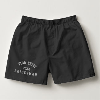 Bridesman Team Bride Wedding Black Boxer Shorts Boxers