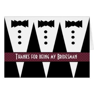 Bridesman Thank You - Three Tuxedos - Customizable Card