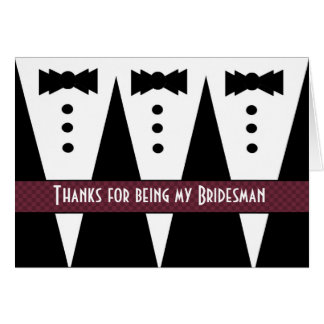 Bridesman Thank You - Three Tuxedos - Customizable Greeting Card