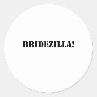 Bridezilla black round sticker