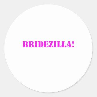 Bridezilla pink round sticker