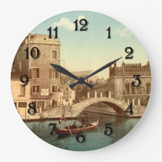 Bridge and Canal, Venice Large Clock