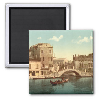 Bridge and Canal, Venice Square Magnet