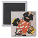 Bridge Game by Norman Rockwell Square Magnet
