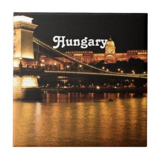 Bridge in Hungary Small Square Tile