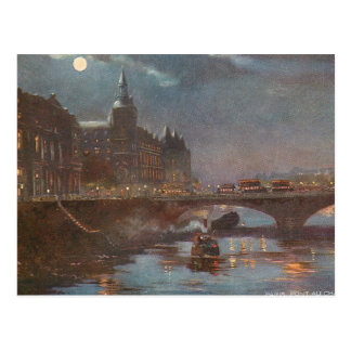 Bridge in Paris at Night Postcard
