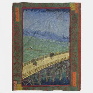 Bridge in Rain after Hiroshige by Vincent Van Gogh Fleece Blanket