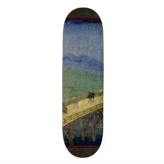 Bridge in Rain after Hiroshige by Vincent Van Gogh Skateboards