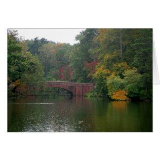 Bridge in the rain greeting card