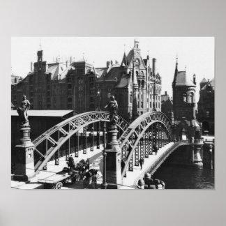 Bridge in the Speicherstadt  Hamburg, c.1910 Poster