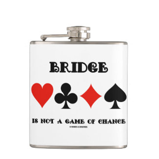 Bridge Is Not A Game Of Chance Four Card Suits Hip Flask