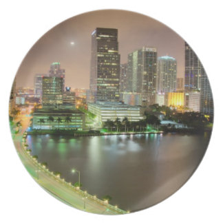 Bridge leads across waterway to downtown Miami Dinner Plates