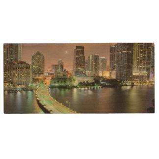 Bridge leads across waterway to downtown Miami Wood USB 2.0 Flash Drive