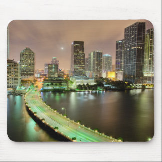 Bridge leads across waterway to downtown Miami Mouse Pad