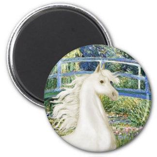 Bridge (Monet) - White Arabian Horse Magnet