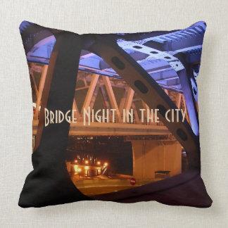 Bridge Night in the city Cushion
